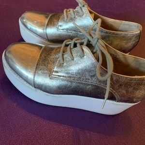 Silver Steve Madden platform shoes